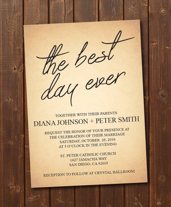 The Best Day Ever Wedding Invitation Printable