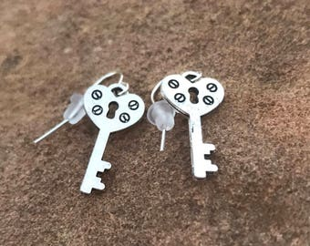 Silver Heart Key Earrings - Lock and Key - Silver Earrings - Dangle Earrings - Drop Earrings - Valentine's Day - Jewelry - Accessories