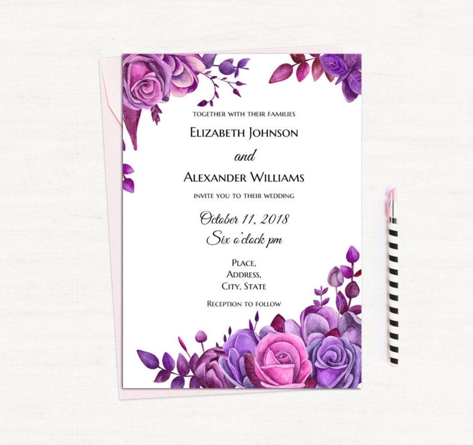 Names Of Purple Flowers For Wedding: Purple Roses Invitation Template Floral Wedding Invitation