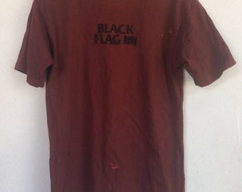 Rare vintage Black flag punk band tshirt 90s M