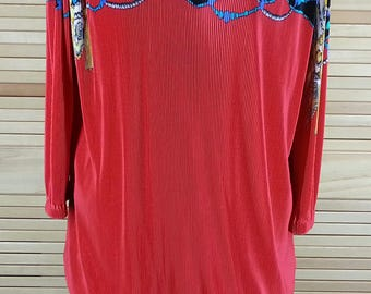 Vintage 80s blouson crystal pleats dress cowl neck long sleeves size L large chest 46