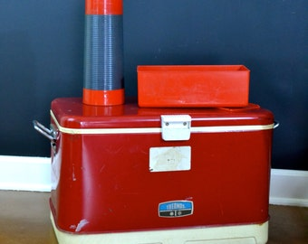 SALE - Retro Vintage Thermos Cooler, Red Vintage Cooler, Icy Hot Cooler, Retro Camping Gear, Ice Chest