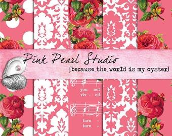 Vintage SHABBY PINK ROSE Digital Printable Paper Pack...Scrapbooking, Crafts and Cardmaking