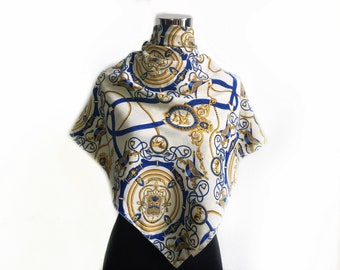 Vintage scarf baroque luxury pattern/ white gold scarf