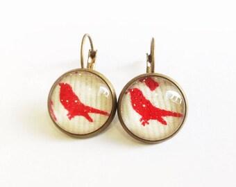 Earrings red birds