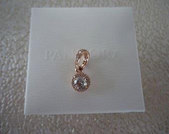 Authentic Pandora Rose Gold Classic Elegance Pendant & Clear CZ 380379CZ