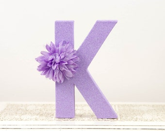 Glittered Purple Letter K for Wedding or First Birthday - Purple Party Decor - Purple Wedding Decor - Glitter - Baby's Room