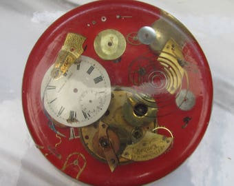 Large Vintage Watch Parts Lucite Paperweight