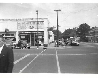 """Vintage Snapshot """"Cut Rate Drugs"""" Corner Drug Store Small Town U.S.A. Black & White Found Photo Small Mini-Photo Street Photography"""