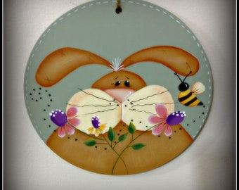 Spring Easter Bunny-Flowers-Bumble Bee Large Wood Circle Wreath Ornament
