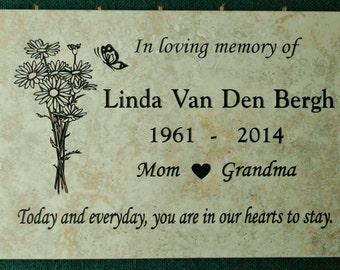 "Garden Memorial plaque. Maintenance Free 12""x8""x3/8"" 'Daisy' design"