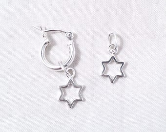 Interchangeable Sterling Silver Star of David Earring, Jewish Star Dangle, Star of David Necklace Drop, Sterling Silver Petite Jewish Star