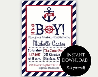 Baby Shower Invitation Template, Nautical Baby Shower Invite, Editable  Invitation, Printable Invitation, Baby Shower Invite, Navy Blue, Red