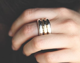 STACKING RING Chunky Silver and Gold OM Ring