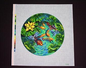 Koi Fish Needlepoint, Needlepoint Designs, Needlepoint Canvases, Painted Needlepoint, Needlepoint Fish Pond, Goldfish Needlepoint Designs