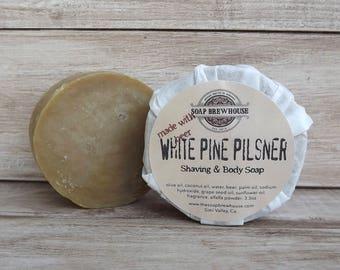 White Pine Pilsner/ Beer Soap/ Body & Shaving Soap/Shaving Puck/Men's Grooming