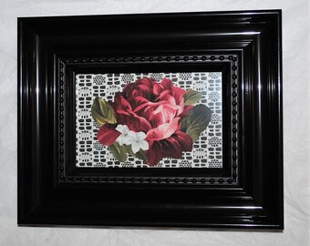 Burgundy Rose On Patterned Lace Mixed Media Fabric Art Wall Decor