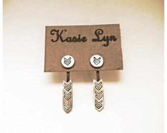 Chevron Frontsie backsie earrings