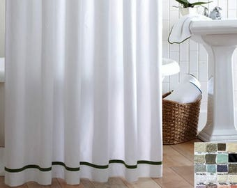 Linen Shower Curtain with Stripes accent, Custom Shower Curtains, 40+ linen fabrics, mix and match your way!