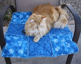 Blue Cat Blanket, Small Dog Blanket, Pet Supplies, Pet Bedding, Handmade Pet Blanket, Pet Quilt, Washable Pet Blanket, Luxury Pet Blanket