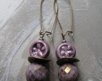 plum earrings, purple earrings, lavender earrings, purple drops, casual earrings, mauve earrings, fun earrings - Plum Dangles earrings