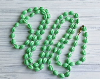 Mint green extra long beaded necklace Opera length vintage wrap necklace