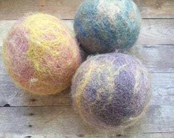 Ovella wool dryer balls. The Terra Tye Dye Collection. Set of Three (3) Natural Dyes, colorful, bright, earth tones, pretty