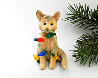 Abyssinian Cat Porcelain Christmas Ornament Figurine Lights