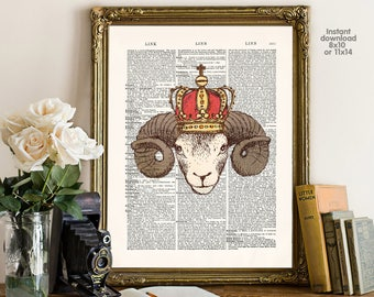 Crown decor, Sheep Art Print, Kids Room Decor, Nursery Art, Animal Prints, Boys Bedroom Wall Artwork, Childrens Room Decor Art