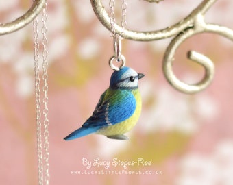 Tiny Hand-Sculpted Blue Tit Pendant and Dangly Earrings