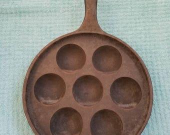 Griswold Cast Iron Aebleskiver Danish Bun Pan