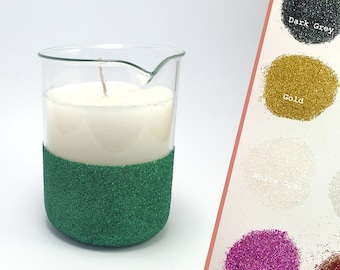 ANY COLOUR - Glitter jar science beaker candle