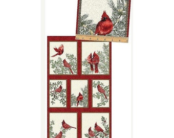 A Festive Season Cardinal Creme Panel 23in x 44in ~Christmas Cotton Fabric By~Benartex