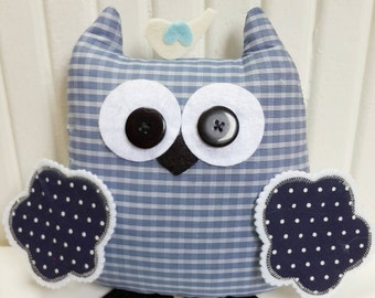 Blue Checked Fabric, Gentilmen Owl