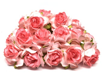 Two Tone Salmon Classic Mulberry Paper Roses Cr024