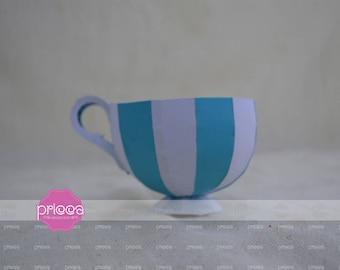 3D SVG tea cup favor box - Alice in Wonderland tea cup