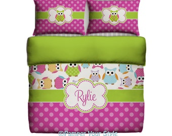 Owl Bedding -  Custom Toddler Bedding - Owl Personalized Bedding - Create your own bedding, color, size