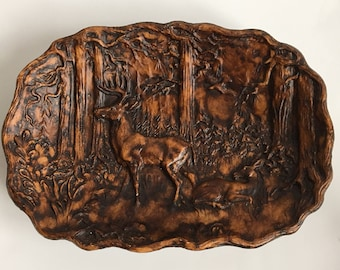 Free Shipping - Vintage Carved Buck Doe Tray