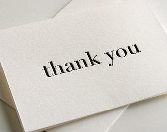 Letterpress Thank You Card - Plain Thanks Black