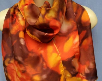 Exclusive Browns/Orange/Autumn Scarf Pure Silk Hand Painted Scarf