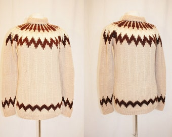Vintage Mauve Pink Wool Sweater Medium Large Brown White Starburst HandKnitted Retro 90s European Ski Winter