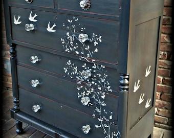 SOLD SOLD Distressed dresser, shabby chic dresser, stenciled dresser, 6 drawer dresser, Rustic dresser,  antique dresser, painted dresser