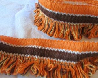 """vintage WRIGHTS PERMA TRIM -- 1 yard--woven braid trim with loop detailing in orange, white, and brown --  1 yard (36"""")"""