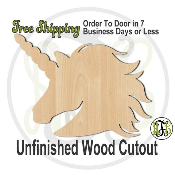 Unicorn - 230054- Animal Cutout, unfinished, wood cutout, wood craft, laser cut shape, wood cut out, Door Hanger, Fairy Tale, wooden, blank