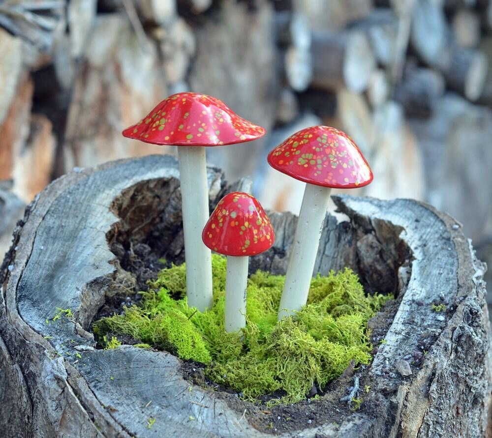Red Ceramic Mushroom. Clay Mushroom Firecracker Garden Decor