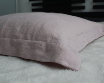 Pillowcase with flanges/edges all around , 100% pure off white linen euro shams , pillow cover , softened flax linen , in handmade