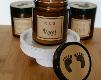 Baby Shower Candle Party Favor, 100 Soy Candles, Baby Shower Favor, Shower Candle Favor, Shower Decoration, Baby Shower Gift, Gift for Guest