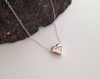 Sterling silver heart necklace, flower girl gift, bridesmaid gift, daughter gift, minimal, heart jewellery, girlfriend gift, gift for mum
