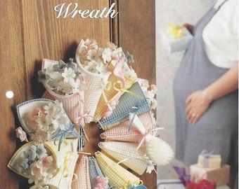 Pastel Shower Wreath Plastic Canvas Pattern, Baby Shower, Baby Gift, Newborn Wreath, Nursery Decor - The  Needlecraft Shop