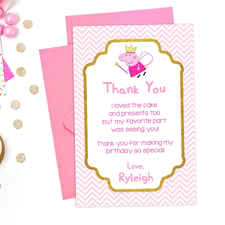 Peppa Pig Thank You Card Birthday Party Printable Peppa Pig
